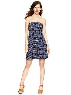 Dot print strapless dress-this is cute and their suggestion of a cute jean jacket makes me happy (i already have one!)