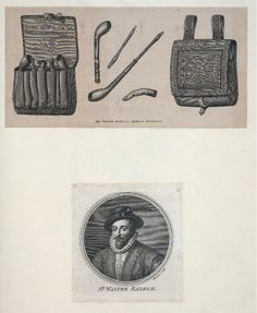 Sir Walter Raleigh's smoking apparatus; Sir Walter Raleigh From New York Public Library Digital Collections.