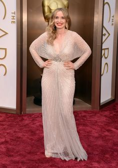 Julie Delpy at the 2014 Oscars: Julie Delpy paired sparkle on sparkle with Jenny Packham's embellished gown, a Swarovski clutch, and Chopard diamonds.Love the details...