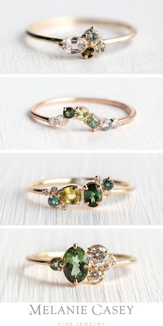 Dainty stacking rings in gold, set with gorgeous green gemstones! Find the Bells of Ireland Ring Cute Jewelry, Jewelry Rings, Jewelry Accessories, Jewelry Design, Jewelry Shop, Fashion Accessories, Jewellery, Alternative Engagement Rings, Green Gemstones