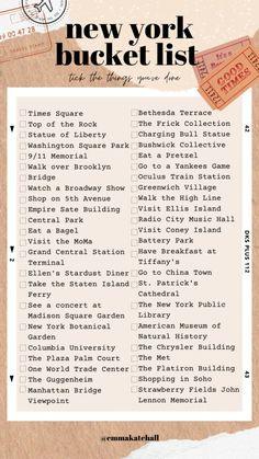 New York City Vacation, New York City Travel, New York Life, Nyc Life, Travel Checklist, Travel List, Aloita Resort, Visiter San Francisco, New York Bucket List