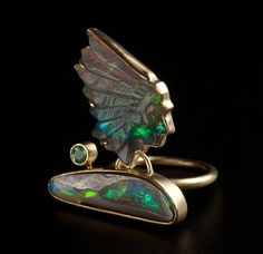 Barbara Christie Red Indian Chief ring, 2011. 18ct gold, emerald, boulder opal.    Fantastic piece.     If you like it please repin, like and/or comment. Thanks    Source: Collection Barbara Christie via MorleyCollege.ac.uk    20130121 17:06