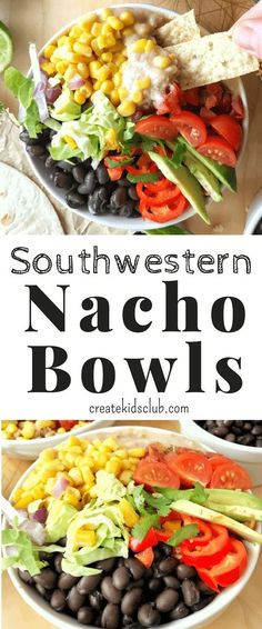 These nachos are packed w/ protein & fiber (ad) for a satisfying, healthy meal that is fun to make & even better to eat -  dunked or wrapped! These healthy nachos make a great dinner recipe or party food.  This bean bowl is sure to please. @SWBeans via @http://www.pinterest.com/createkidsclub