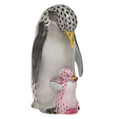 """Herend Hand Painted Porcelain Figurine  """"Penguin w Baby"""" Black Raspberry Fishnet Gold Accents."""