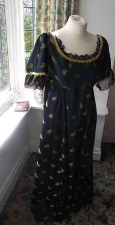 Regency evening gown with genuine antique lace by Ionianswansongs, £125.00