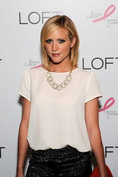 Actress Brittany Snow shows her support by wearing the Giuliana Rancic for LOFT necklace (out Oct 1st). Snow is at the LOFT Live In Pink party on August 15, 2012 to celebrate an exclusive partnership between LOFT & Giuliana Rancic in support of The Breast Cancer Research Foundation. #LOFTPink