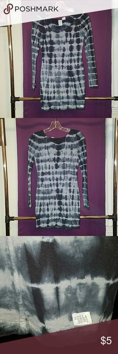 BILLABONG TIE-DYE DRESS XS, LONG-SLEEVED, BLACK AND GRAY TIE-DYE BILLABONG DRESS Billabong Dresses Mini