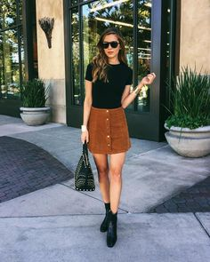 Suede Button Down Skirt + Black Top + Boots