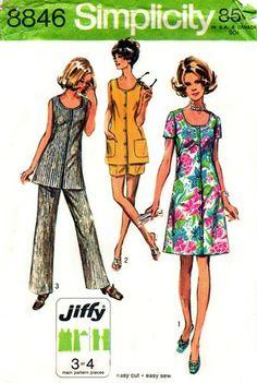 Simplicity 8846 Cheeky Dress or Tunic & Pants 1970