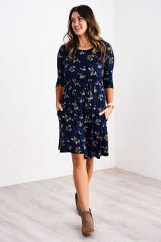 Latched Mama 3/4 Sleeve Swing Nursing Dress Nursing Clothes, Nursing Tops, Nursing Dress, Teacher Clothes, Modest Dresses, Dresses With Sleeves, Navy Bouquet, Business Dresses, Work Attire