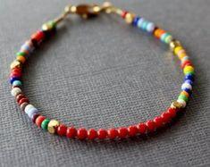 women's beaded bracelet, Coral bracelet, multi colored beaded bracelet, boho chic beaded bracelet, gemstone stacking bracelet teen bracelet