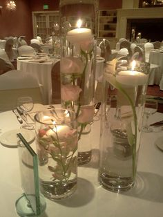 submerged flowers & floating candle centerpieces | www.lyndseyloringdesign.com | NH ME MA wedding flowers