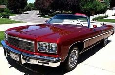1975 Chevrolet Caprice Convertible in Dark Red. Chevy Caprice Classic, Chevrolet Caprice, Classic Chevrolet, Chevrolet Impala, Camaro Models, Chevy Models, Donk Cars, Car Man Cave, Convertible