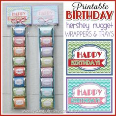 Happy Birthday Nugget Wrappers, CANDY, favor, gift - Printable INSTANT Download