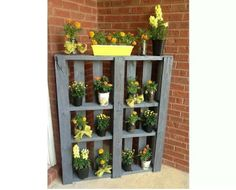 Recycled pallet plant stand