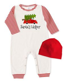 c30d182551d4 Look at this Tesa Babe Ivory   Red Stripe  My 1st Xmas  Playsuit ...