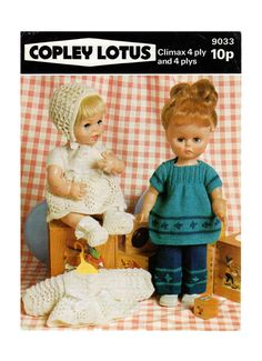 Dolls clothes 4 ply knitting pattern 99p pdf by Heritageknitting1