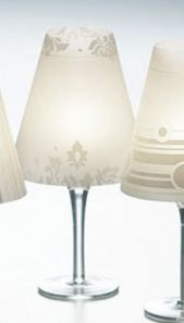 DIY Wine glass lamps (wine glass + vellum)