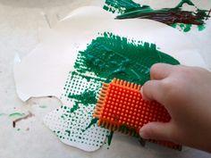 Bristle block painting on Dinosaur cut-out