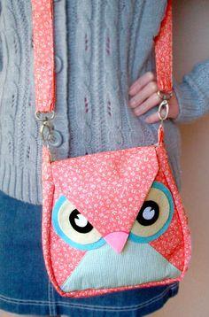10.5% OFF Sakura: Pink Flip Owl Bag, messenger bag, tote, animal, women, kid bag, children bag, fabric bag, girl bag, boy bag. $34.00, via Etsy.