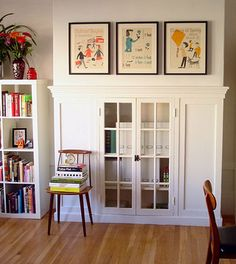 Bookcase fireplace conversion.