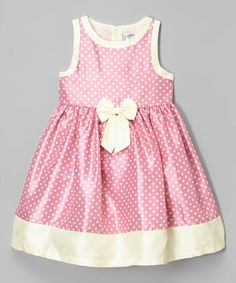 This Pink & Cream Polka Dot Shantung Dress - Infant & Toddler is perfect! #zulilyfinds