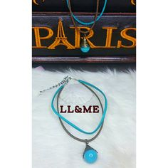 Double layer two toned turquoise drop choker gypsy by LouLeeAndMe