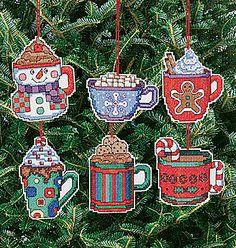 6 Christmas Cocoa Mug Ornaments Christmas Cross Stitch Kit by Janlynn
