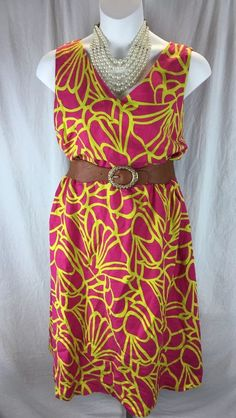 Ashley Stewart Dress Floral Print Pink/Green Wmns Plus Sz 24 NWT retails $49.5
