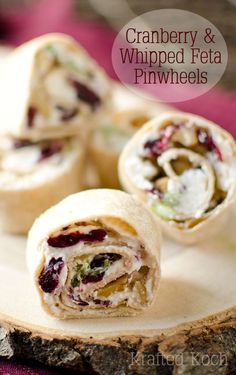 Cranberry & Whipped Cranberry & Whipped Feta Pinwheels - Krafted Koch - A perfectly simply and delicious appetizer recipe for the holidays! Holiday Appetizers, Yummy Appetizers, Appetizer Recipes, Party Appetizers, Holiday Parties, Holiday Ideas, A Food, Food And Drink, Whipped Feta