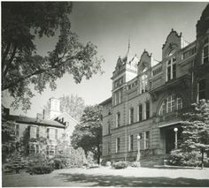 Ewing Hall looking east ca 1940s. It was demolished in 1974. :: Ohio University Archives