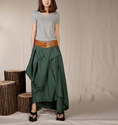 Summer Maxi skirt Linen Skirt In Forest por FashionColours en Etsy