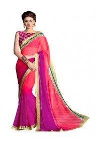Sasural Women Multi Color Georgette Designer Saree