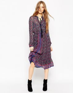 Image 1 of ASOS Folk Midi Dress In Metallic Thread