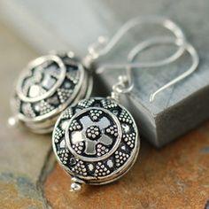 Sterling silver bali chic dangle earrings (shield pattern)
