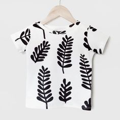 Black & White Leaves baby and kid shirt. 100% by DoubleYellowLine