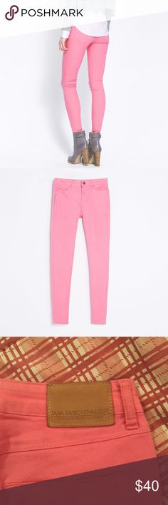Host Pick 🎉 Zara Pink Jeans Pink Jeans from Zara. Reminds me of bubblegum. Super cute, brightens up any outfit! Exact pants in pictures. Has a side zip for an added moto look and has very comfortable stretch. Worn a couple of times. Zara Jeans Skinny