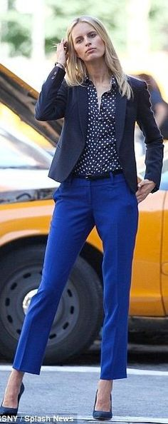 Outfit Posts: outfit post: polka-dot top, black jacket, blue cropped pants