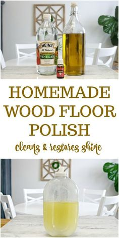 3 Ingredient Homemade Wood Floor Polish Recipe - This DIY wood floor cleaner will restore the natural shine to your wood floors without causing damage. Safe for hardwood and laminate floors. Deep Cleaning Tips, House Cleaning Tips, Natural Cleaning Products, Spring Cleaning, Cleaning Hacks, Diy Hacks, Cleaning Recipes, Boat Cleaning, Cleaning Solutions