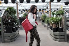 Backpack, backpack outfit, pop of red, spring 2019 style Retail Pos System, Credit Card Readers, Backpack Outfit, Leather Backpack, Spring Summer, Backpacks, Zipper, Pop, Outfits