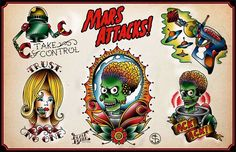 MARS ATTACK! Tattoo flash