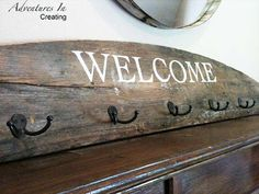 reclaimed barn wood coat hanger sign
