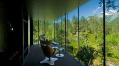 Located outside the small town of Gudbrandsjuvet, Norway (approximately five hours drive north of Oslo), the hotel is positioned amid its main attraction - the pristine forest.