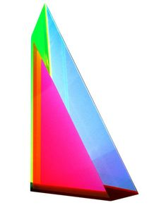 beveled triangle cast acrylic sculpture by vasa.