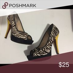 Open toe pumps Calf hair pumps with contrasting heel. 5 inch w/1.5 inch platform Enzo Angiolini Shoes Heels