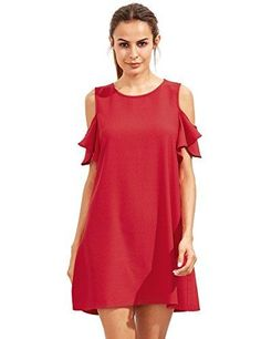 SheIn offers Burgundy Cold Shoulder Ruffle Sleeves Shift Dress & more to fit your fashionable needs. Very Short Dress, Straight Dress, Plus Size Maxi Dresses, Casual Dresses, Short Sleeve Dresses, Robe Swing, Swing Dress, Holiday Party Dresses, Cosplay Dress