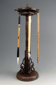 Chinese Calligraphy Carved Wood Brush Stand / Jewelry Display Stand - B
