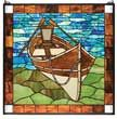 Row boat stained glass panel