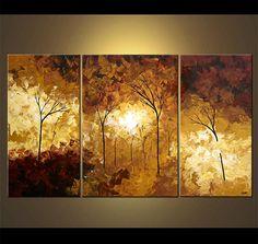 Paisaje de árboles florecientes pintura Original por OsnatFineArt, $1169.00