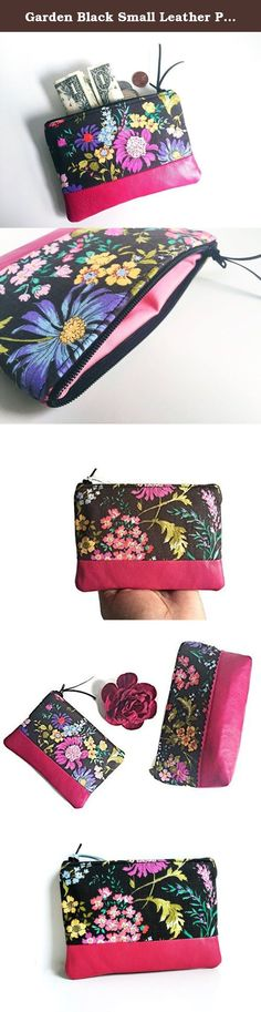 Garden Black Small Leather Pouch, Coin Purse, Change Wallet, Coin Pouch, Leather Zipper Pouch. This charming floral garden black small leather pouch is perfect for all of your small items (coins, cash & credit cards). Crafted with cotton fabric and soft leather, this coin purse is a chic way to hold all of your essentials. Features: 100% printed cotton fabric, 100% cotton lining, fuchsia pink leather, zipper closure. Care Instructions: Spot clean only. Dimensions: 4 tall X 6 wide.